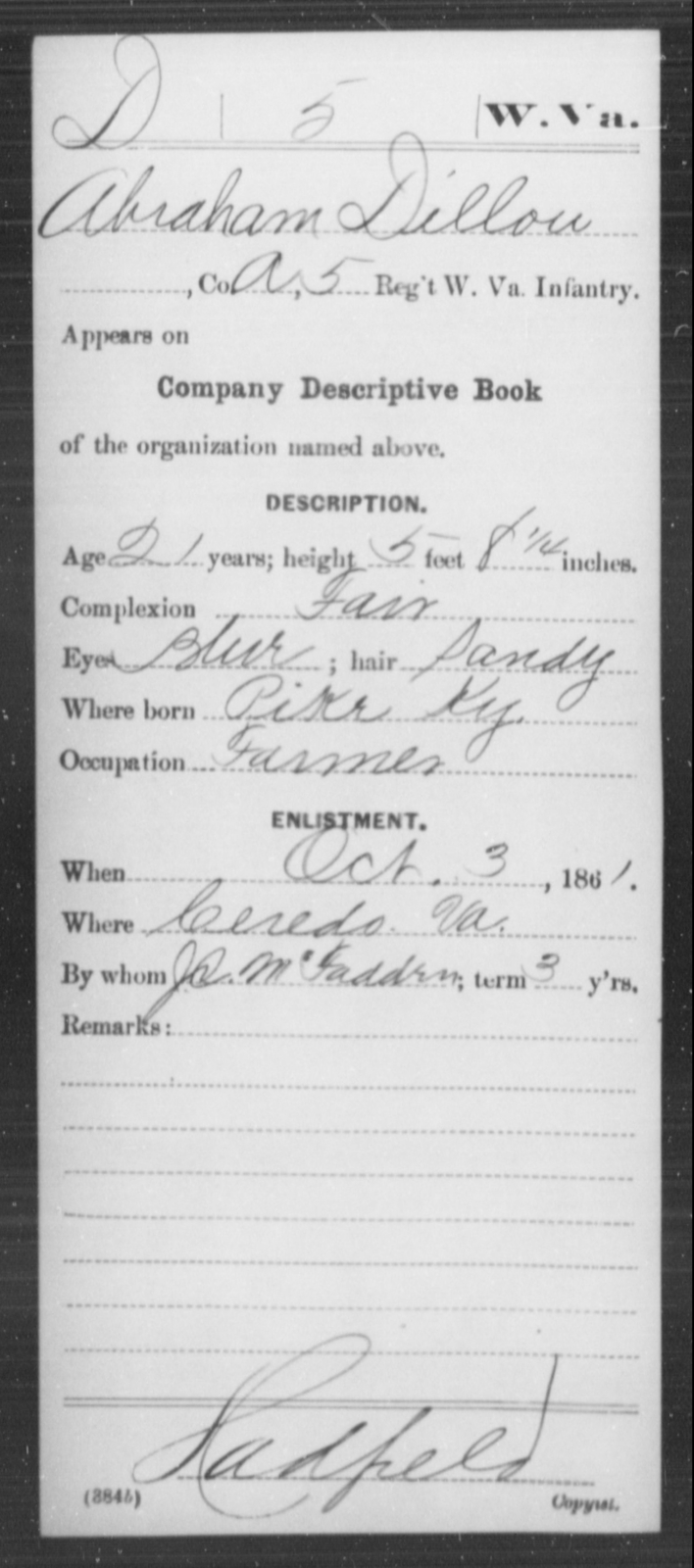 Dillon, Abraham - Age 21, Year: 1861 - Miscellaneous Card Abstracts of Records - West Virginia