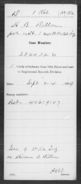 Dillon, H B - Age [Blank], Year: [Blank] - Miscellaneous Card Abstracts of Records - West Virginia