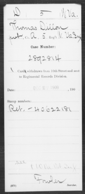 Dillon, Thomas - Age [Blank], Year: [Blank] - Miscellaneous Card Abstracts of Records - West Virginia