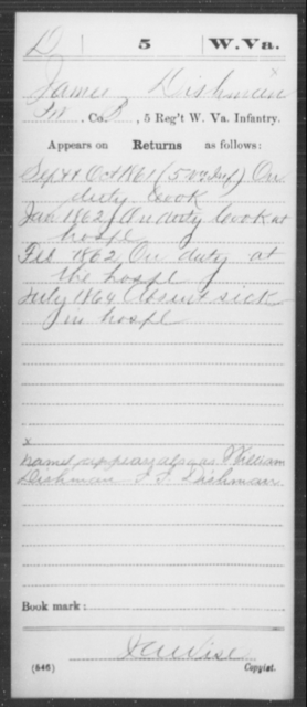 Dishman, James - Age [Blank], Year: 1861 - Miscellaneous Card Abstracts of Records - West Virginia