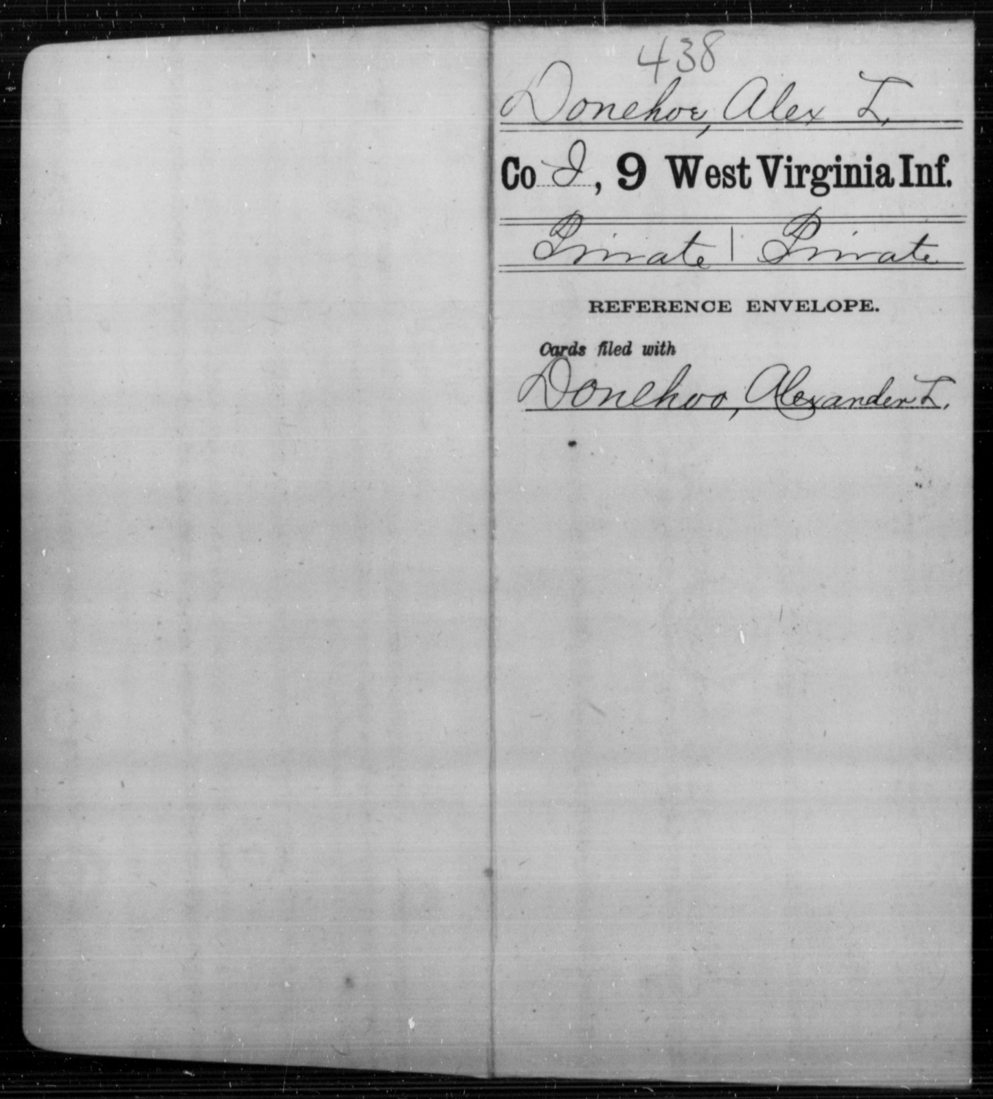 Donehoe, Alex L - Age [Blank], Year: [Blank] - Ninth Infantry - West Virginia