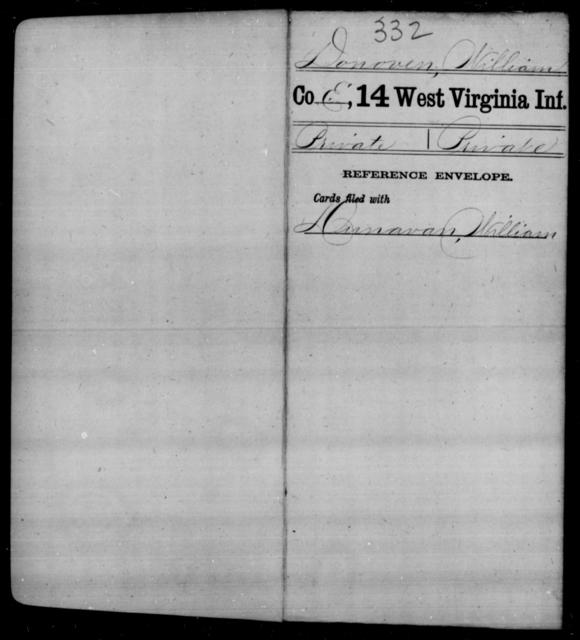 Donoven, William - Age [Blank], Year: [Blank] - Fourteenth Infantry, C-Z - West Virginia