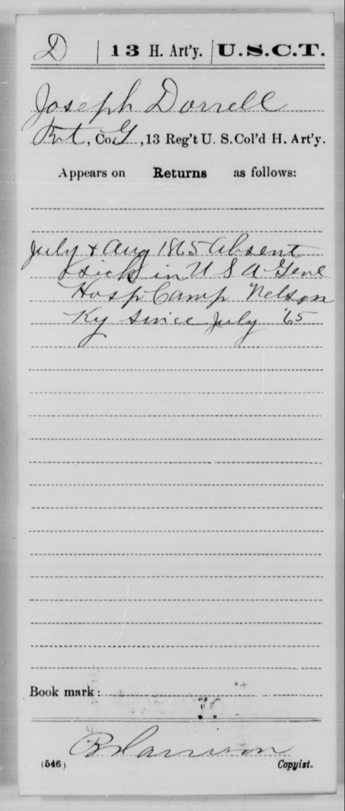Dorrell, Joseph - Age [Blank], Year: 1865 - 13th US Colored Heavy Artillery, Misc Cards - United States Colored Troops: Artillery Organizations