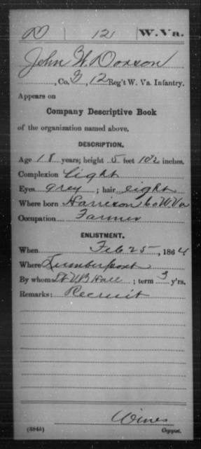 Dorson, John W - Age 18, Year: 1864 - Miscellaneous Card Abstracts of Records - West Virginia