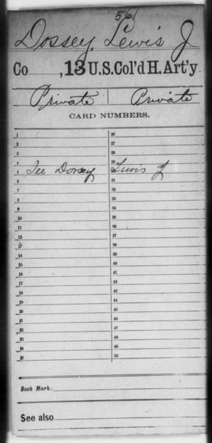 Dossey, Lewis J - Age [Blank], Year: [Blank] - 13th US Colored Heavy Artillery - United States Colored Troops: Artillery Organizations
