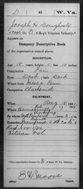 Dougherty, Joseph H - Age 18, Year: 1861 - Miscellaneous Card Abstracts of Records - West Virginia