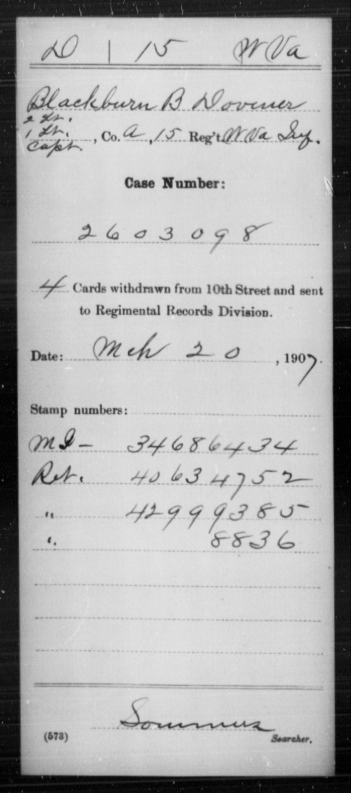 Dovener, Blackburn B - Age [Blank], Year: [Blank] - Miscellaneous Card Abstracts of Records - West Virginia