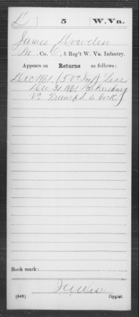 Dowden, James - Age [Blank], Year: 1861 - Miscellaneous Card Abstracts of Records - West Virginia