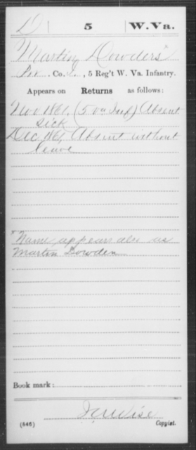 Dowders, Martin - Age [Blank], Year: 1861 - Miscellaneous Card Abstracts of Records - West Virginia