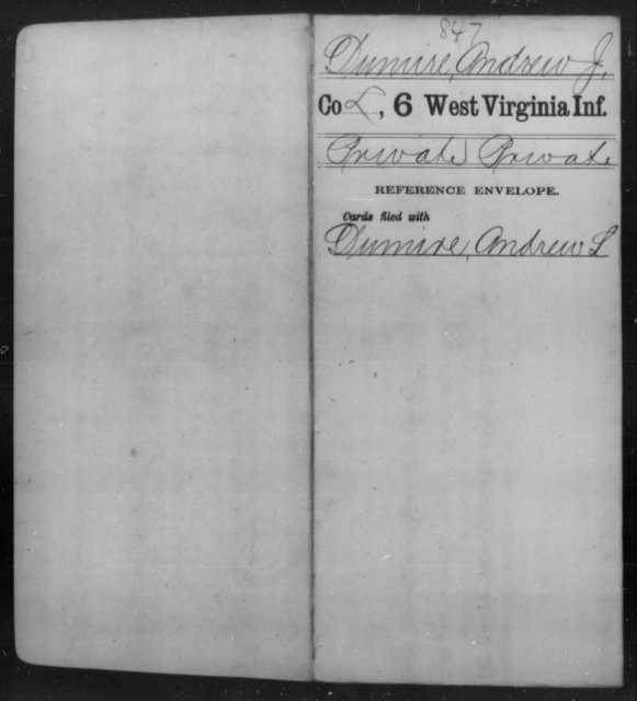 Dumire, Andrew J - Age [Blank], Year: [Blank] - Sixth Infantry - West Virginia