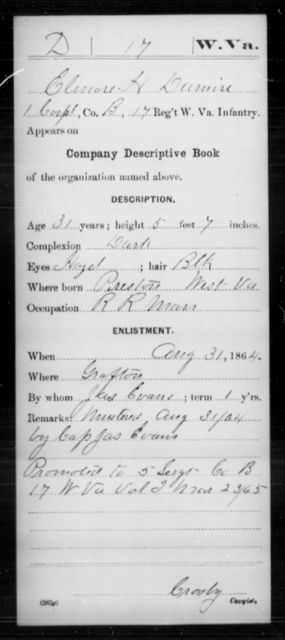 Dumire, Elmore H - Age 31, Year: 1864 - Miscellaneous Card Abstracts of Records - West Virginia