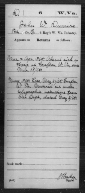 Dumire, John W - Age [Blank], Year: 1865 - Miscellaneous Card Abstracts of Records - West Virginia