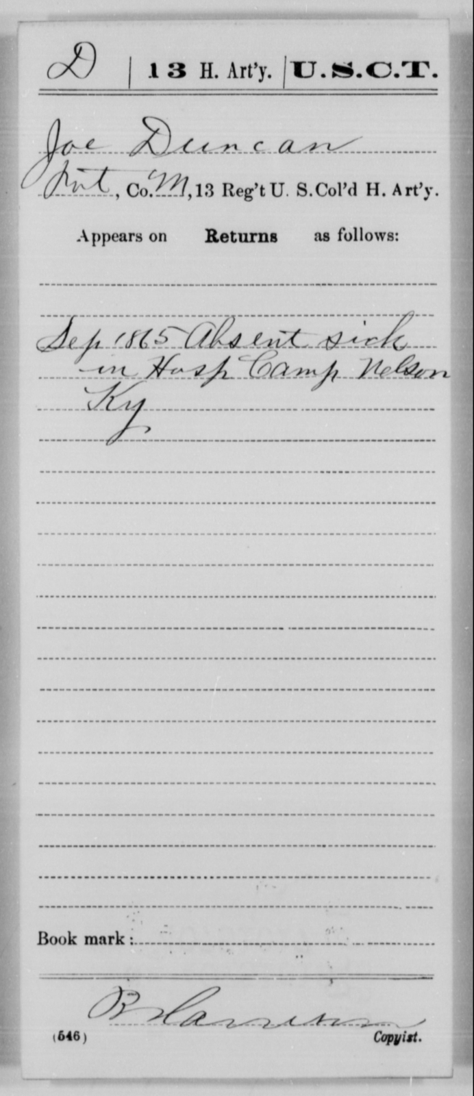 Duncan, Joe - Age [Blank], Year: 1865 - 13th US Colored Heavy Artillery, Misc Cards - United States Colored Troops: Artillery Organizations