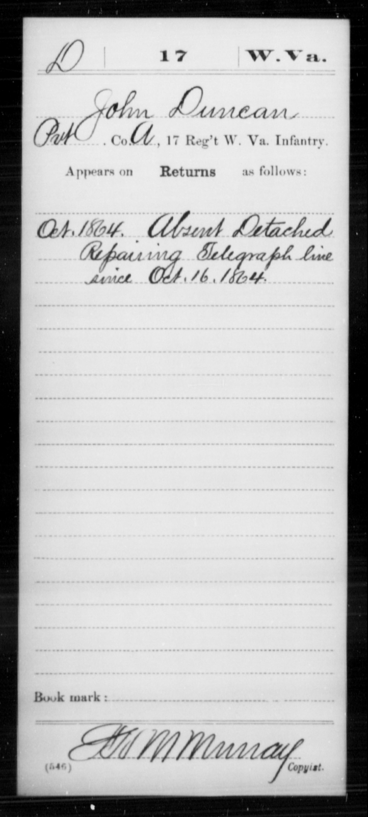 Duncan, John - Age [Blank], Year: 1864 - Miscellaneous Card Abstracts of Records - West Virginia