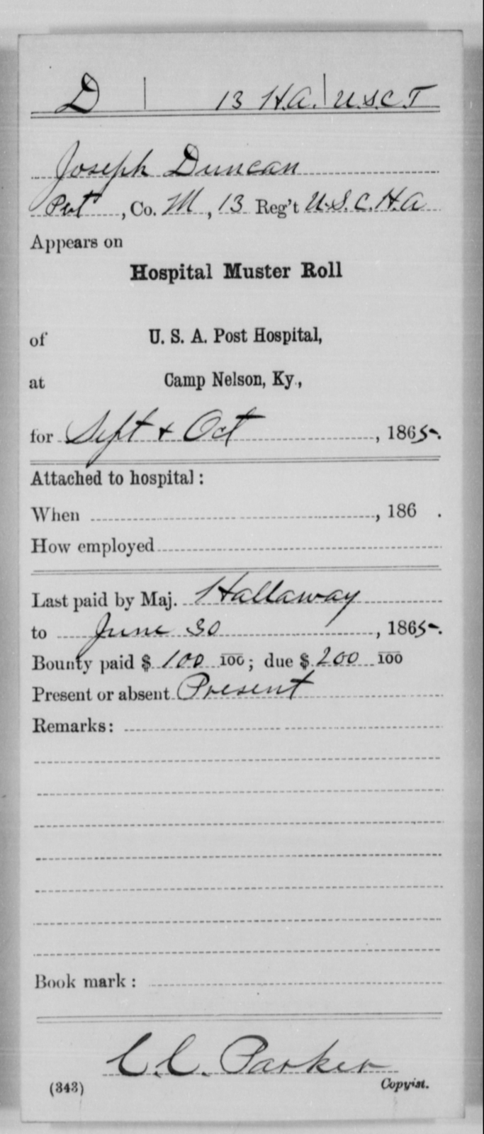 Duncan, Joseph - Age [Blank], Year: 1865 - 13th US Colored Heavy Artillery, Misc Cards - United States Colored Troops: Artillery Organizations