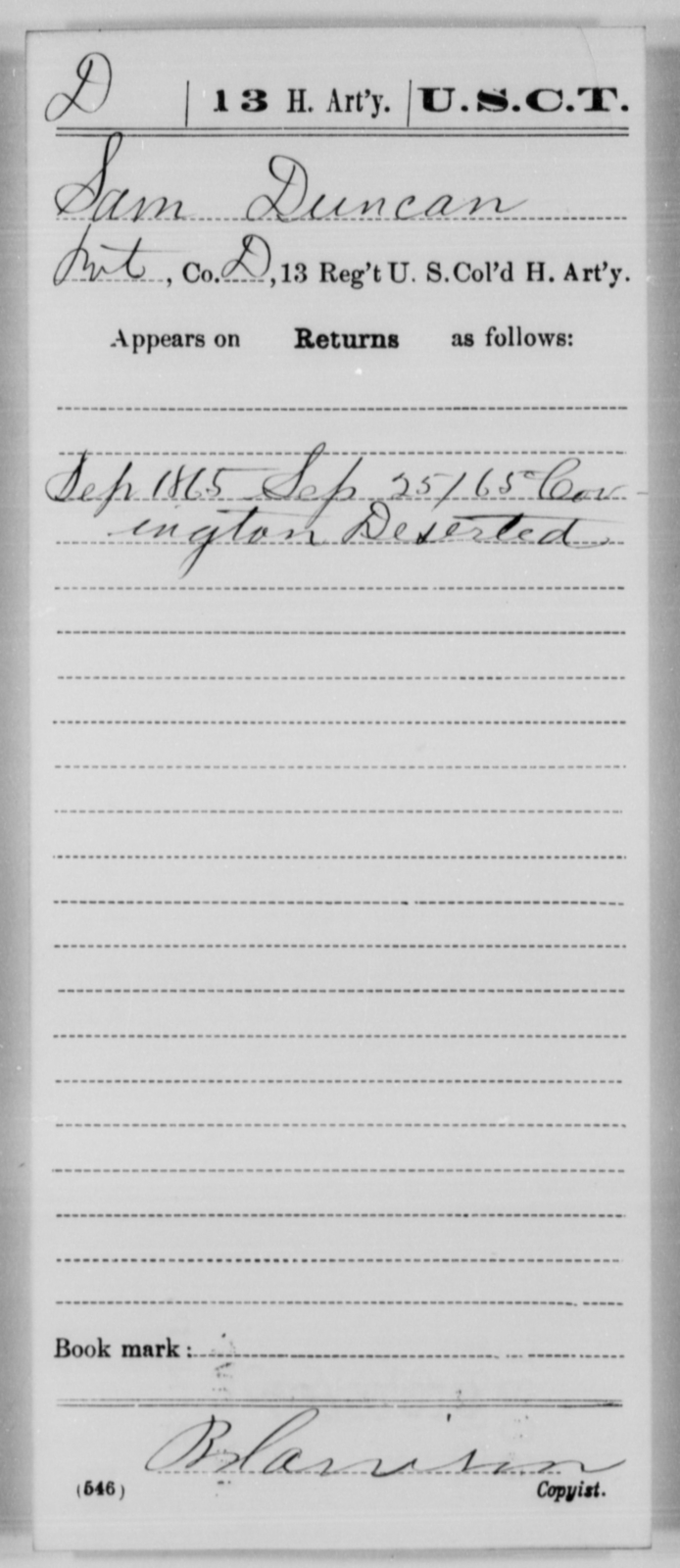 Duncan, Sam - Age [Blank], Year: 1865 - 13th US Colored Heavy Artillery, Misc Cards - United States Colored Troops: Artillery Organizations