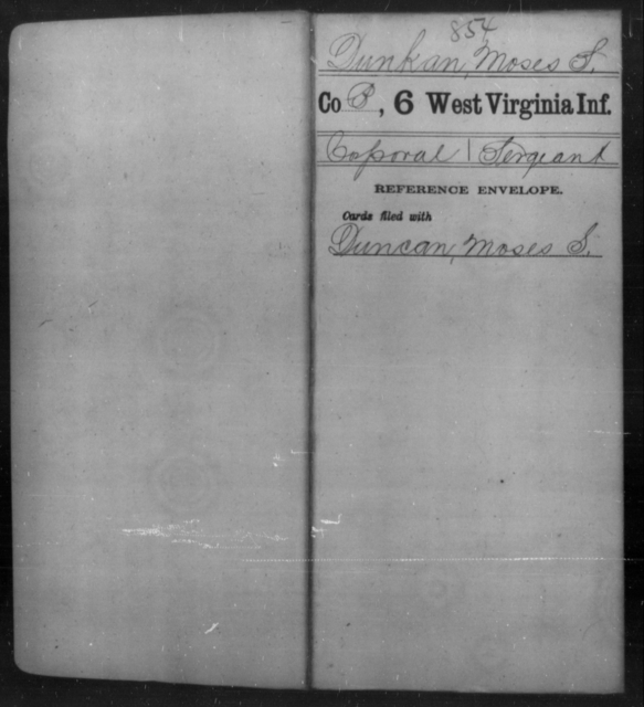Dunkan, Moses S - Age [Blank], Year: [Blank] - Sixth Infantry - West Virginia