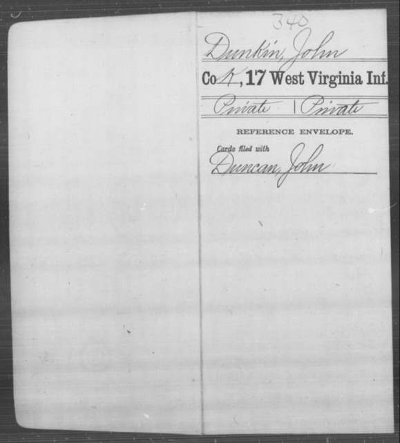 Dunkin, John - Age [Blank], Year: [Blank] - Seventeenth Infantry - West Virginia