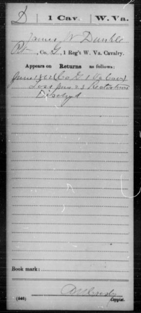 Dunkle, James W - Age [Blank], Year: 1862 - Miscellaneous Card Abstracts of Records - West Virginia