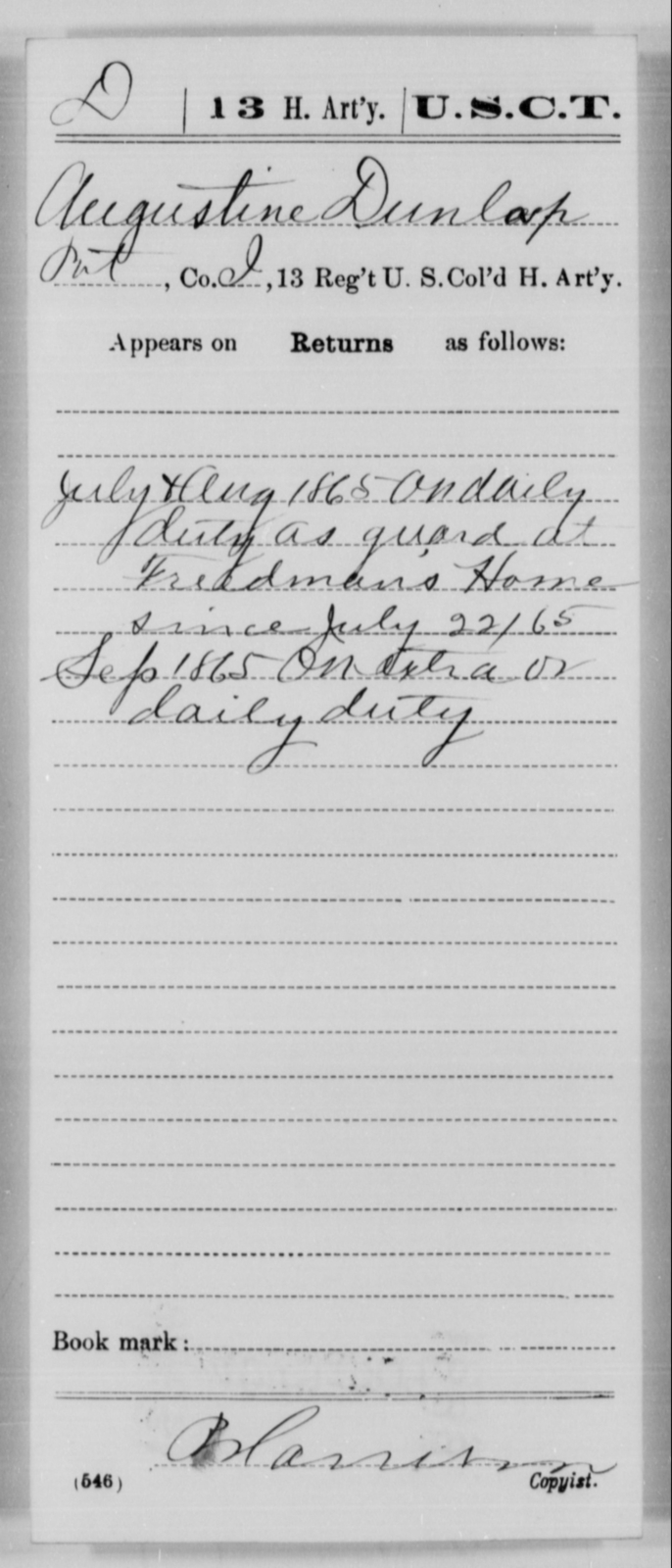 Dunlap, Augustine - Age [Blank], Year: 1865 - 13th US Colored Heavy Artillery, Misc Cards - United States Colored Troops: Artillery Organizations
