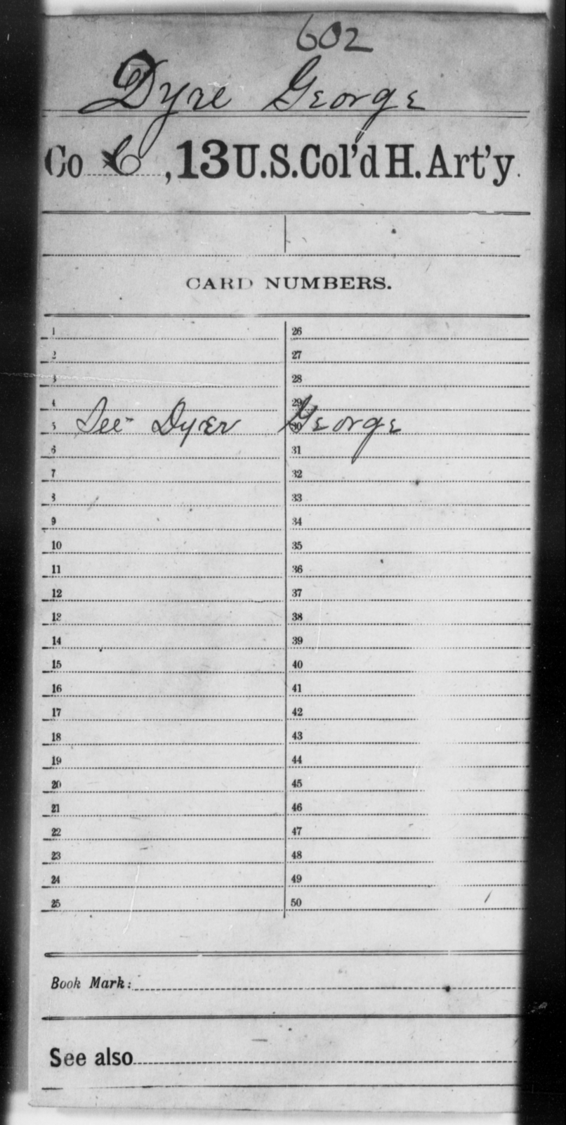 Dyre, George - Age [Blank], Year: [Blank] - 13th US Colored Heavy Artillery - United States Colored Troops: Artillery Organizations