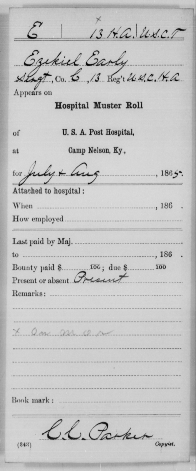 Early, Ezekiel - Age [Blank], Year: 1865 - 13th US Colored Heavy Artillery, Misc Cards - United States Colored Troops: Artillery Organizations