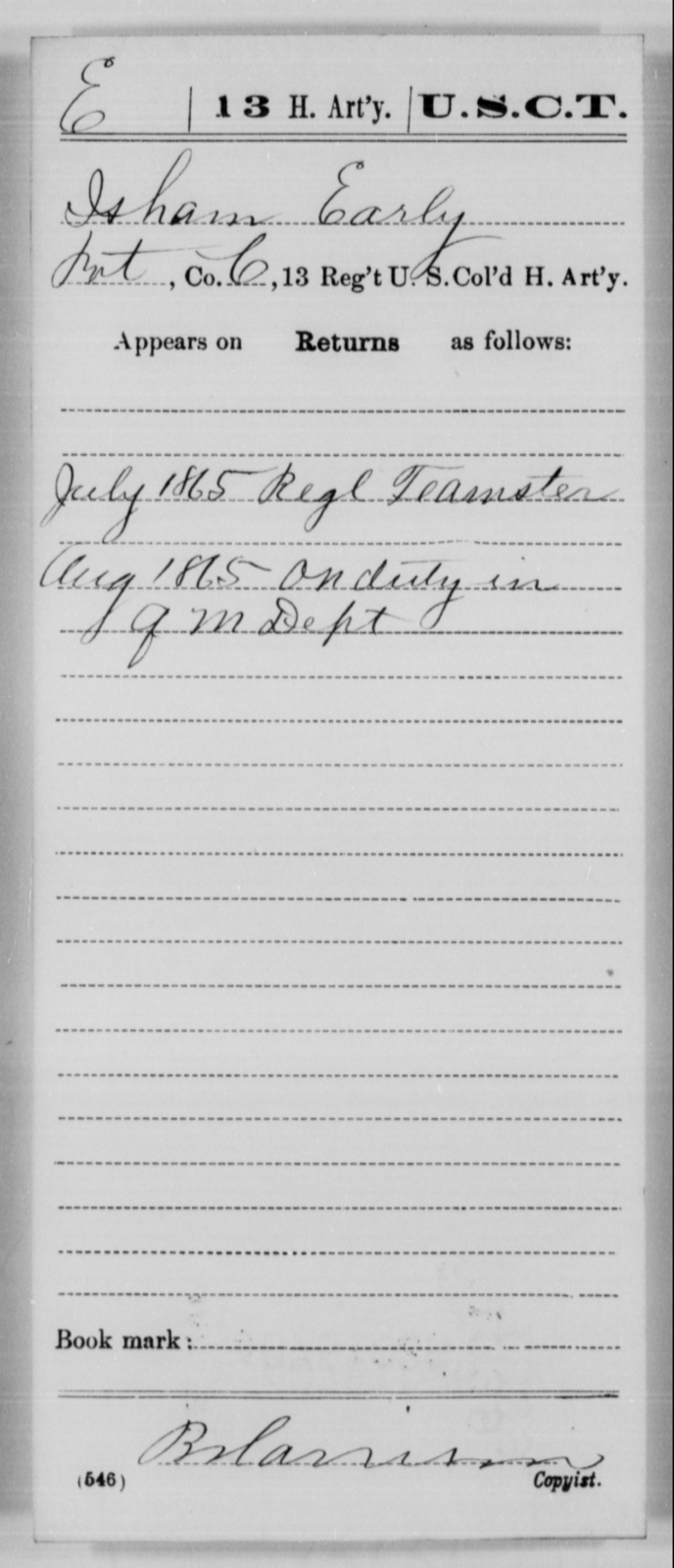 Early, Isham - Age [Blank], Year: 1865 - 13th US Colored Heavy Artillery, Misc Cards - United States Colored Troops: Artillery Organizations