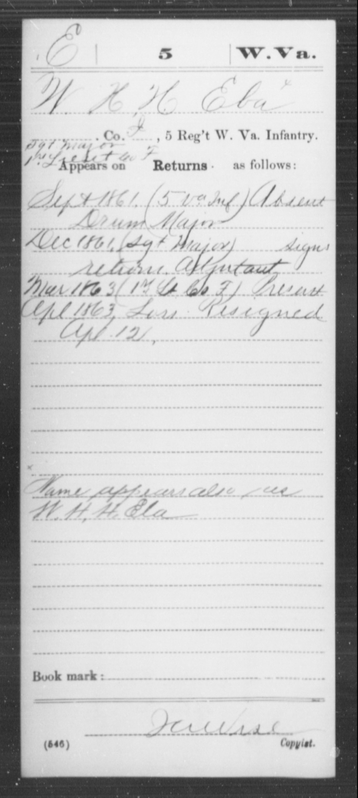Eba, W H H - Age [Blank], Year: 1861 - Miscellaneous Card Abstracts of Records - West Virginia