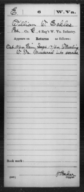 Eckles, William W - Age [Blank], Year: 1864 - Miscellaneous Card Abstracts of Records - West Virginia
