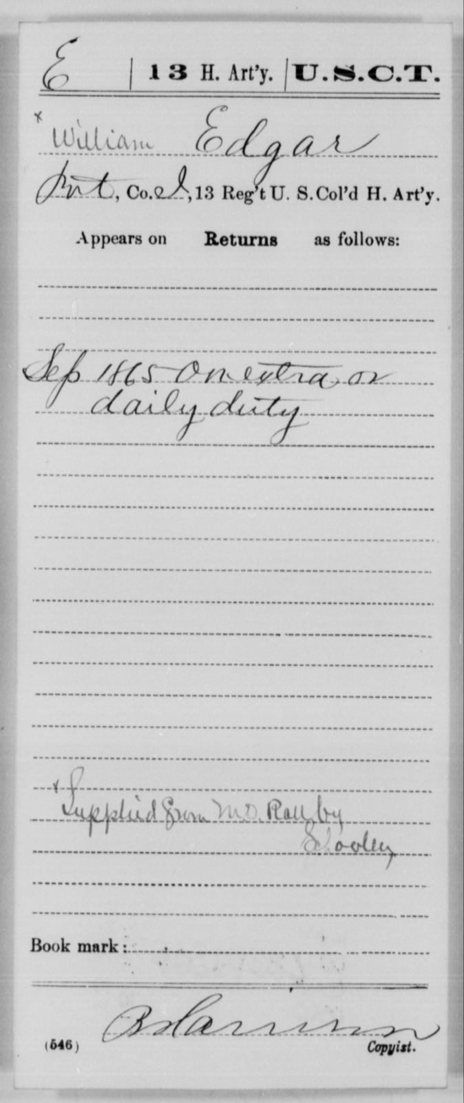 Edgar, William - Age [Blank], Year: 1865 - 13th US Colored Heavy Artillery, Misc Cards - United States Colored Troops: Artillery Organizations