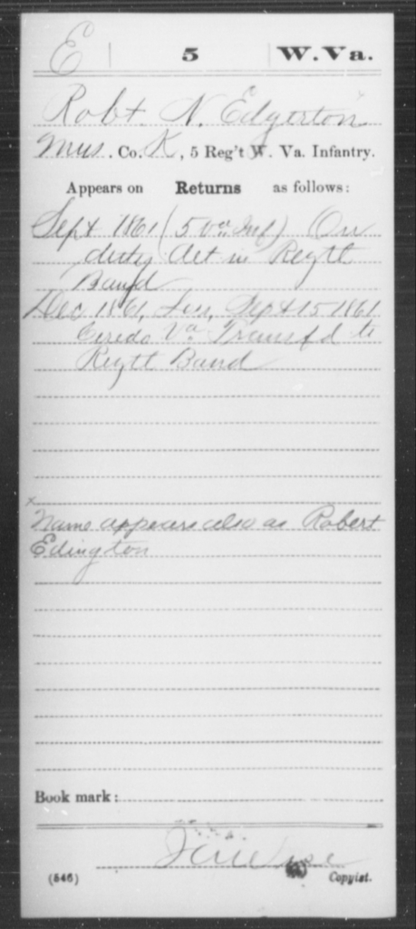 Edgerton, Robt N - Age [Blank], Year: 1861 - Miscellaneous Card Abstracts of Records - West Virginia