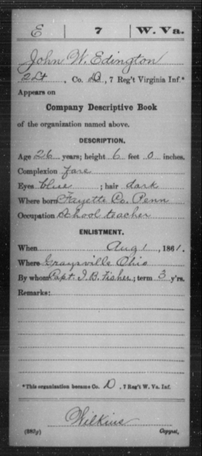Edington, John W - Age 26, Year: 1861 - Miscellaneous Card Abstracts of Records - West Virginia
