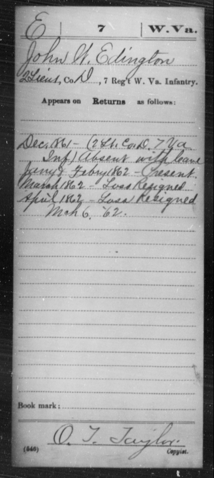 Edington, John W - Age [Blank], Year: 1861 - Miscellaneous Card Abstracts of Records - West Virginia