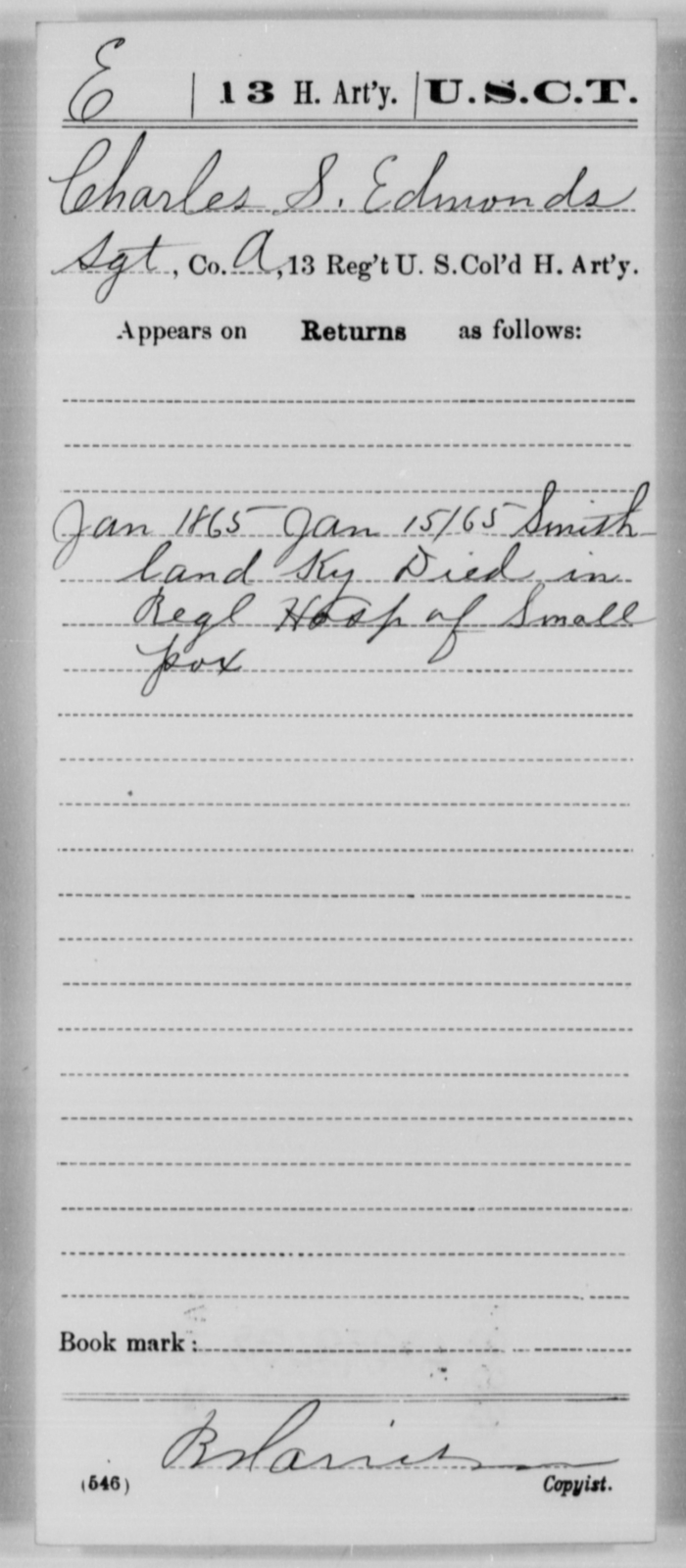 Edmonds, Charles S - Age [Blank], Year: 1865 - 13th US Colored Heavy Artillery, Misc Cards - United States Colored Troops: Artillery Organizations