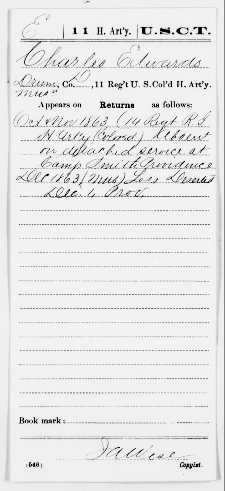 Edwards, Charles - Age [Blank], Year: 1863 - 11th US Colored Heavy Artillery, Misc Cards, E-Y - United States Colored Troops: Artillery Organizations