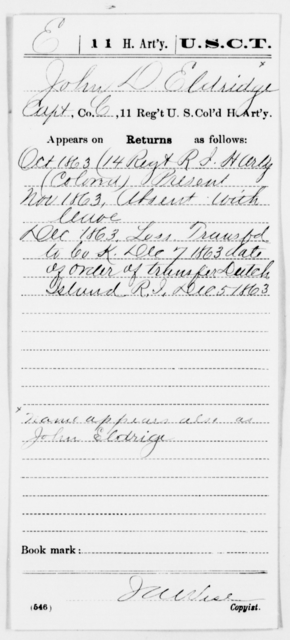 Eldridge, John D - Age [Blank], Year: 1863 - 11th US Colored Heavy Artillery, Misc Cards, E-Y - United States Colored Troops: Artillery Organizations