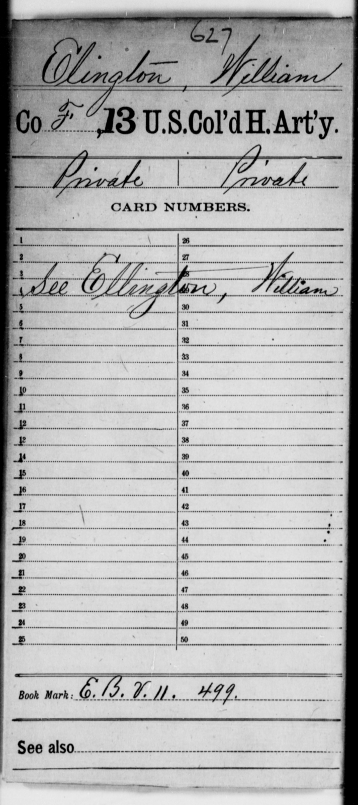Elington, William - Age [Blank], Year: [Blank] - 13th US Colored Heavy Artillery - United States Colored Troops: Artillery Organizations