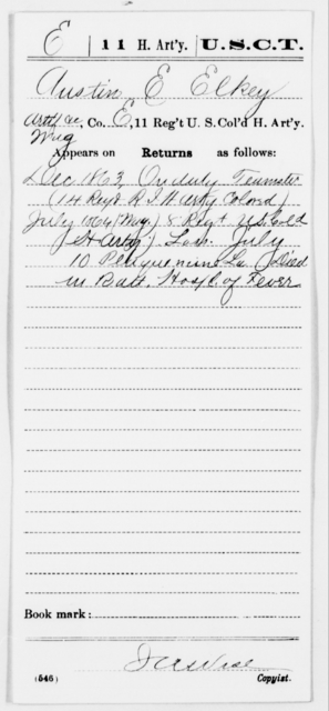 Elkey, Austin E - Age [Blank], Year: 1863 - 11th US Colored Heavy Artillery, Misc Cards, E-Y - United States Colored Troops: Artillery Organizations