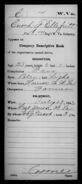 Ellefritt, Enoch F - Age 23, Year: 1862 - Miscellaneous Card Abstracts of Records - West Virginia