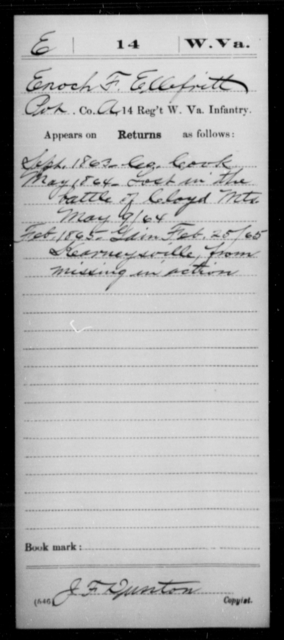 Ellefritt, Enoch F - Age [Blank], Year: 1863 - Miscellaneous Card Abstracts of Records - West Virginia