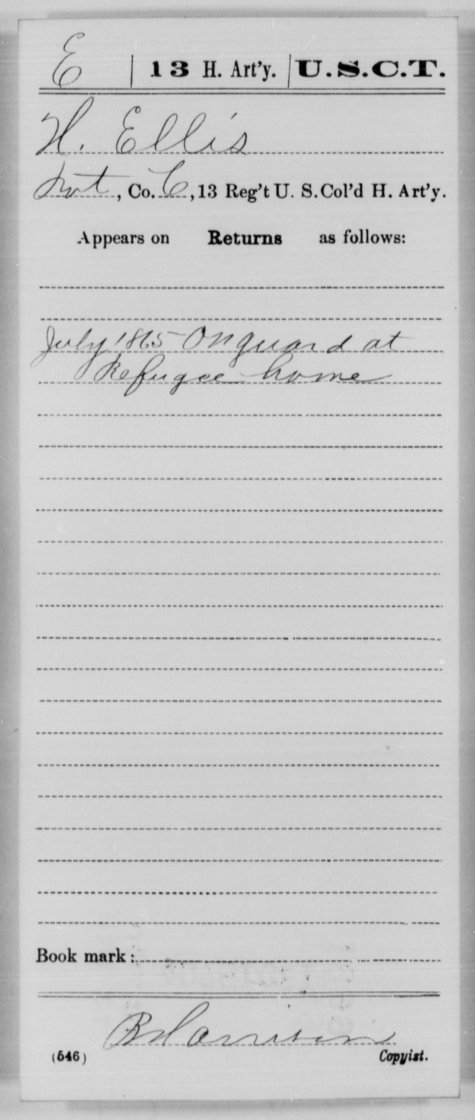 Ellis, H - Age [Blank], Year: 1865 - 13th US Colored Heavy Artillery, Misc Cards - United States Colored Troops: Artillery Organizations