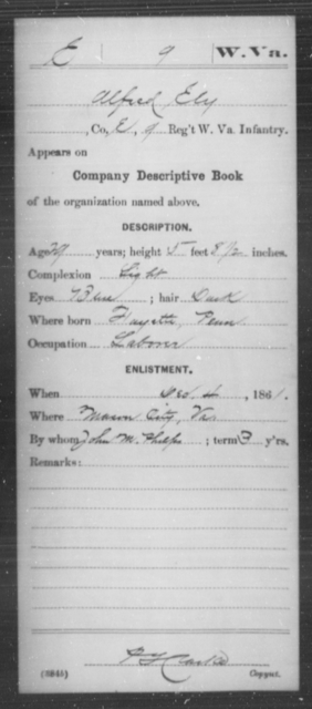 Ely, Alfred L - Age 29, Year: 1861 - Miscellaneous Card Abstracts of Records - West Virginia