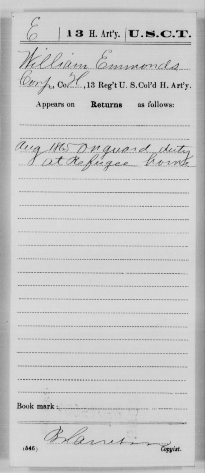 Emmonds, William - Age [Blank], Year: 1865 - 13th US Colored Heavy Artillery, Misc Cards - United States Colored Troops: Artillery Organizations
