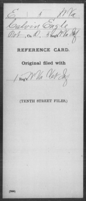Engle, Calvin - Age [Blank], Year: [Blank] - Miscellaneous Card Abstracts of Records - West Virginia