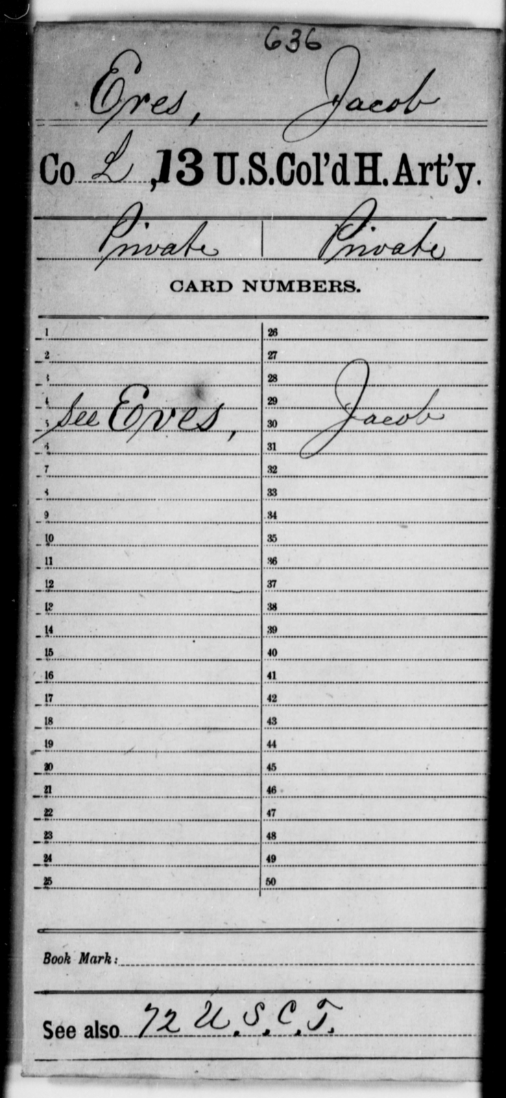 Eres, Jacob - Age [Blank], Year: [Blank] - 13th US Colored Heavy Artillery - United States Colored Troops: Artillery Organizations