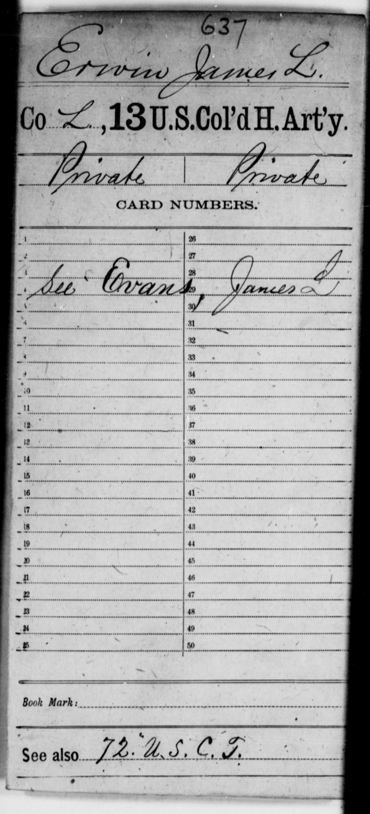 Erwin, James L - Age [Blank], Year: [Blank] - 13th US Colored Heavy Artillery - United States Colored Troops: Artillery Organizations