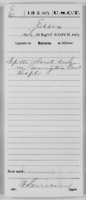Essex, [Blank] - Age [Blank], Year: 1865 - 13th US Colored Heavy Artillery, Misc Cards - United States Colored Troops: Artillery Organizations