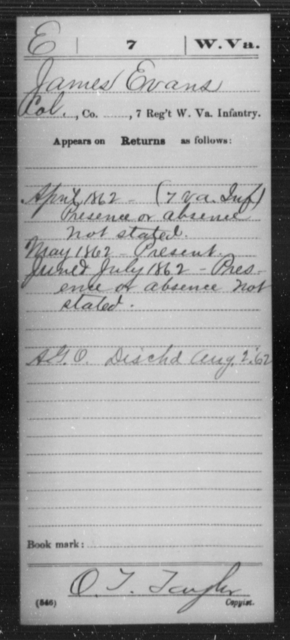 Evans, James - Age [Blank], Year: 1862 - Miscellaneous Card Abstracts of Records - West Virginia