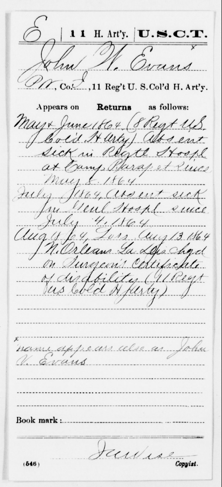 Evans, John W - Age [Blank], Year: 1864 - 11th US Colored Heavy Artillery, Misc Cards, E-Y - United States Colored Troops: Artillery Organizations