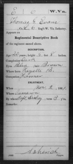 Evans, Thomas G - Age 20, Year: 1861 - Miscellaneous Card Abstracts of Records - West Virginia
